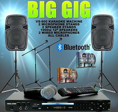 "BG VOCAL-STAR KARAOKE MACHINE & 1000w 12"" SPEAKER SET BLUETOOTH 4 MICS 300 SONGS"