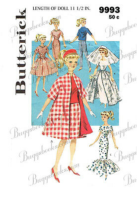 Butterick 9993 - for 11 1/2 inch dolls such as barbie clothes sewing patterns