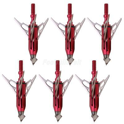 6Pcs Red Target Hunting Archery Arrow Heads 3 Blade Broadheads 100 Grain New