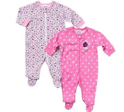 66e91c82fdc5 GERBER GIRLS 2-PK Zip-Front Pink Flowers Sleep N  Play BABY CLOTHES ...