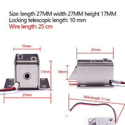 DC12V Solenoid Electric Lock File Display Cabinet Door Drawer Latch Assembly