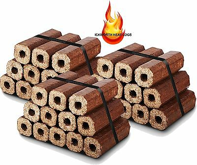 36 Premium Eco Wood Heatlogs- Firewood Fuel Heat for Open Fire Stoves Log Burner