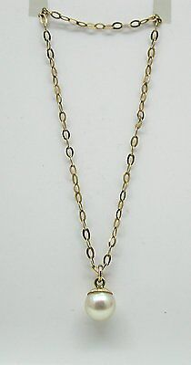 Vintage Pretty 9ct Gold And Cultured Pearl Pendant And Chain
