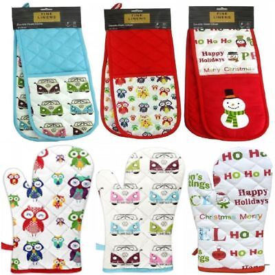 Thick Padded Cotton Insulated Kitchen Oven Cooking Baking Gloves Mitts Mittens