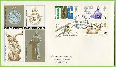 G.B. 1968 Anniversaries set on GPO First Day Cover, Bureau