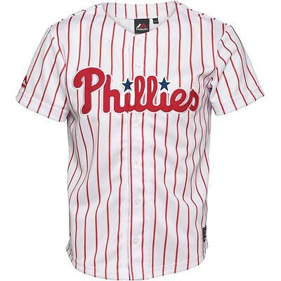 Majestic Athletic Junior Kids Phillies Stripe Baseball Jersey/ Shirt, 12-13yrs