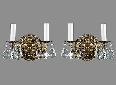 Spanish Brass & Crystal Sconces NEW STOCK c1950's Vintage Antique Gold French St