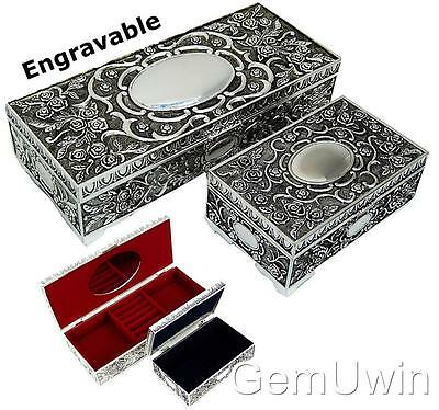 Silver Jewellery Trinket Box Organised & Mirror Ladies Engravable Gift 22 &13 cm