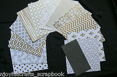 "SILVER & WHITE Card Kit 12Designs 9Shiney 3Matt 6""x6"" Single Sided+Glitter6""x3"""
