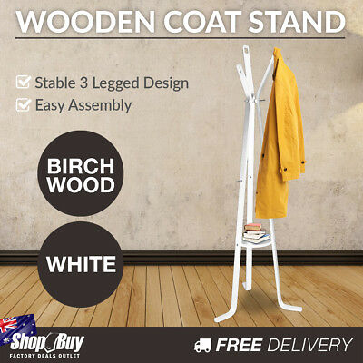 Wooden Clothes Stand Coat Rack Hat Jacket Hanger Bag Umbrella Hook White