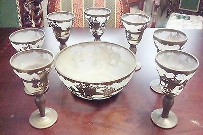 Antique frosted glass etched with silver on copper, ships decorations[BXPUNCH*]