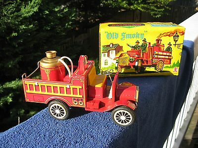 Vintage Old Smoky Firetruck, Tin Friction, Cragstan Toys, Boxed, Made in Japan