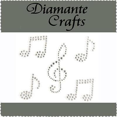 5 x Clear Diamante Music Notes Self Adhesive Rhinestone Craft Embellishment Gems