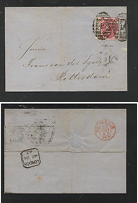 Great  Britain  44 plate 4 , wing copy March 1867 to Rotterdam nice     SS0425