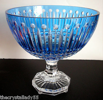 Faberge Xenia  Azure blue cased cut to clear crystal Centerpiece Comport bowl