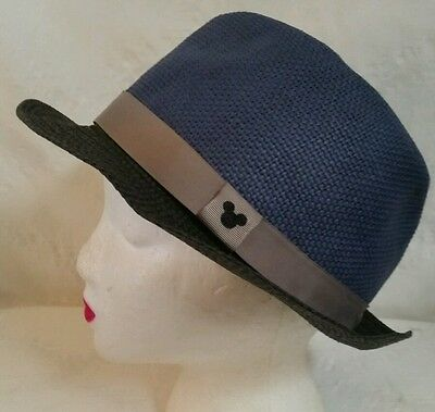 Disney Hat Fedora Hat Mickey Mouse Band Blue Wicker