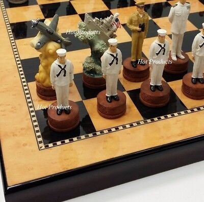 WW2 PEARL HARBOR US vs Japan Chess Set W/ Walnut & Maple Finish Board 15""