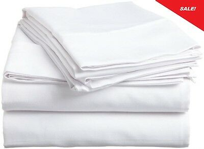6 NEW WHITE 90x110 T200 LONG STAPLE COTTON SHEET QUEEN HOTEL GRADE FLAT QUALITY