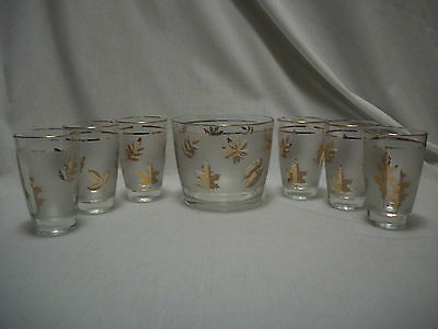 Libbey Gold Leaves Frosted 12oz Tumblers Six pieces & Ice Bucket