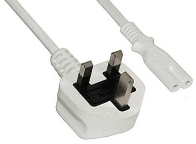 Cables UK POWER MAINS CABLE WHITE LEAD 1 metre 1.5m FIGURE 8 fig8 C7