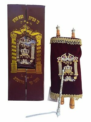 Judaica Beautiful Sefer Torah Scroll Hebrew Jewish Bible  32 CM + Pointer (YAD)