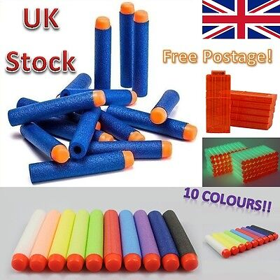 Nerf Gun Refill Darts for N-Strike Elite Gun Bullets 7.2cm Ten Colours! UK