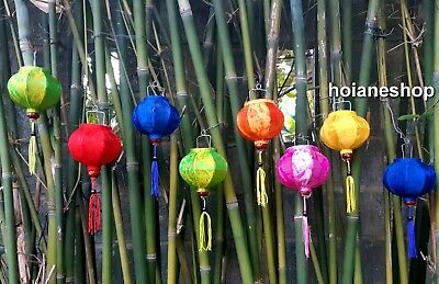 Set of 8 Vietnam Hoi an Silk Lanterns String 10cm - for Christmas decoration