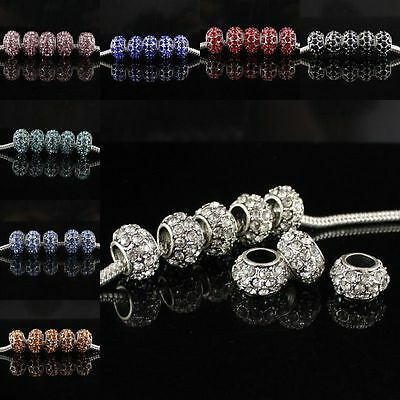 Wholesale Rhineston Crystal European Loose Charms Beads Large Hole Fit Bracelet