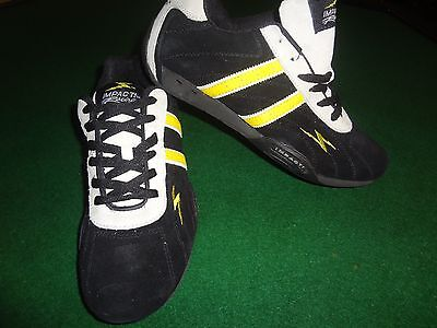 New Mens Impact Racing Shoes Suede Black Yellow Size 5