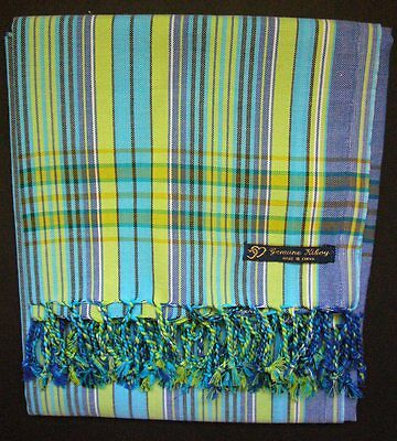 NEW Kikoy Kikoi Light Blue Green Africa Cotton Sarong Throw Scarf Kenya Swimwear