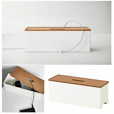 IKEA Cable Management Box Extension Lead Charger Hide Organiser Tidy Table White