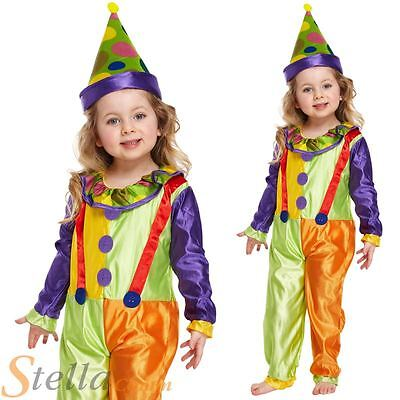 Toddler Clown Colourful Fancy Dress Costume & Hat Age 2 3 4