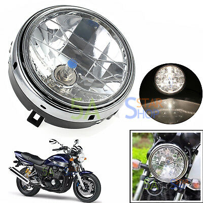 "12V 7"" Motorcycle Round Halogen H4 Bulb Headlight Side Mount Head Lamp New Black"
