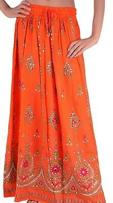 Ladies Indian Boho Hippie Long Sequin Skirt Rayon in black and pink inset color