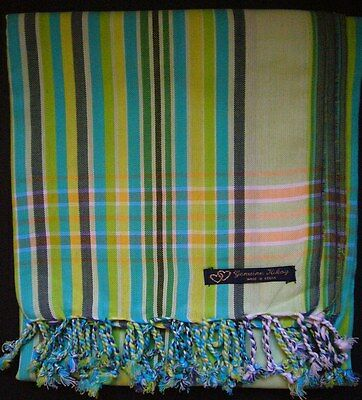 NEW Kikoy Lime Green Blue Multi Africa Cotton Sarong Throw Scarf Kenya Swimwear