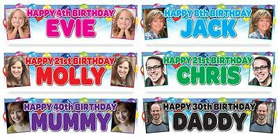 LARGE PERSONALISED GLOSS PHOTO BIRTHDAY PARTY BANNER 16th, 18th, 21st, 30th 40th