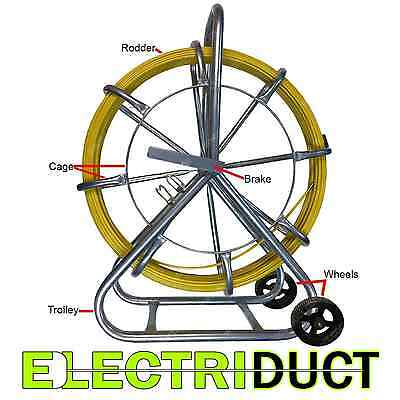 """1000FT x 1/4"""" DiameterCable Rodder Duct Coated Fiberglass w Cage and Wheel Stand"""