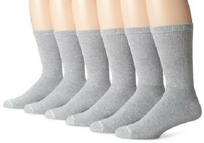 NEW! GRAY HANES Crew Socks 3 PAIR Size L/G 6-12  Shoe size  6-12- MEN'S WOMEN'S