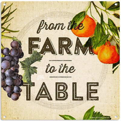 Farm To The Table Fruit Metal Sign Vintage Style Kitchen Decor 12 x 12