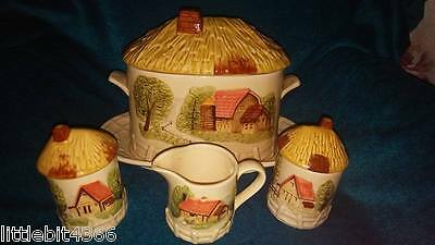 Vintage Made In Japan Gravy Dish, Plate, Creamer, Sugar & Pitcher Farm Hay Roofs