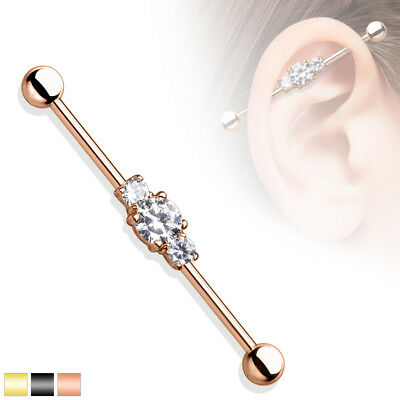 Three Stone Cubic Zirconia IP Surgical Steel Industrial Barbell