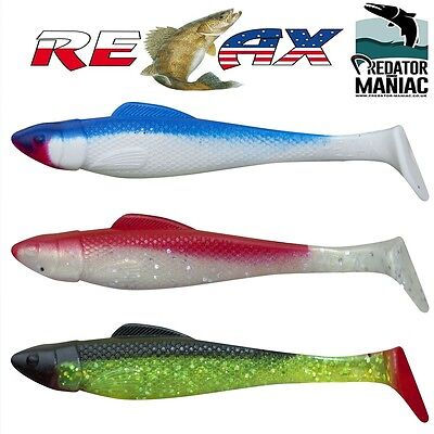 """pike,perch,zed,mustad,vertical,lures Mann/'s 4/"""" Pack of 3 kopyto shad 10 cm"""