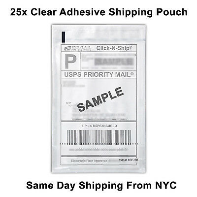 "25x Self Adhesive Clear Mailing Shipping Label Pouch Packing List Pouch 8""x5.5"""