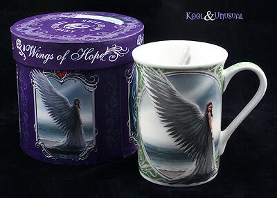 "Anne Stokes Bone China Mug Cup: ""Spirit Guide"" Guardian Angel on Beach"