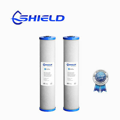 "2 x 0.5 Micron Whole Carbon Block Water Filter 20"" x 4.5"" Big Blue Cartridges"