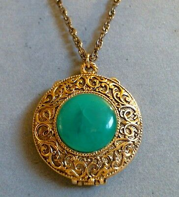 Max Factor Solid Perfume Pendant Full Hypnotique Green Cabochon Necklace