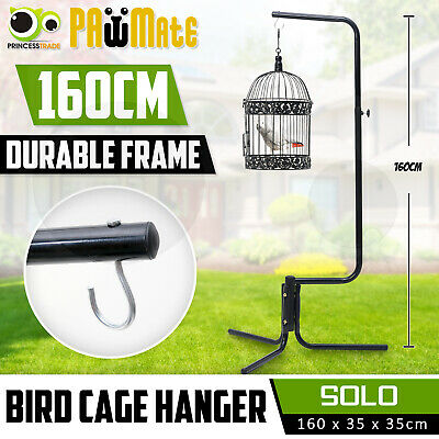 Bird Cage Hanger Stand Pet Parrot Aviary Black Iron Tube Frame Canary 160cm