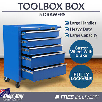 5 Drawers Toolbox Chest Cabinet Tool Box Roller Trolley Blue