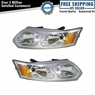 Headlights Headlamps Left & Right Pair Set NEW for 03-07 Saturn Ion 4 Door Sedan