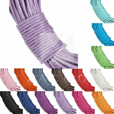 15 Colours 20m Waxed Cotton Cord Thong String Necklaces Jewellery Making 1x1mm
